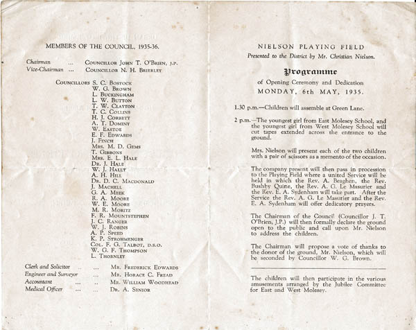 Programme for 1935 opening of Nielson's Field
